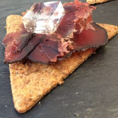 Forest canape with venison bresaola