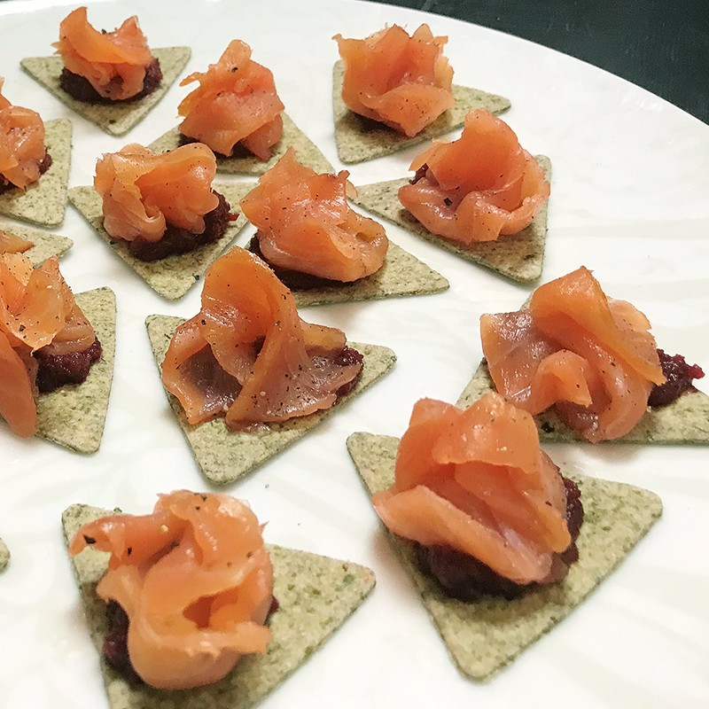 salmon canapes closeup
