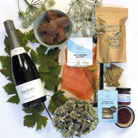 Celebration hamper - Sussex smoked salmon and fizz gourmet hamper