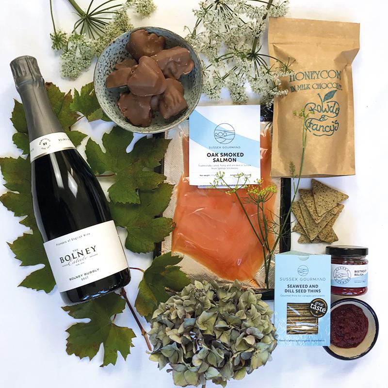 Celebration hamper - Sussex smoked salmon and fizz gourmet hamper