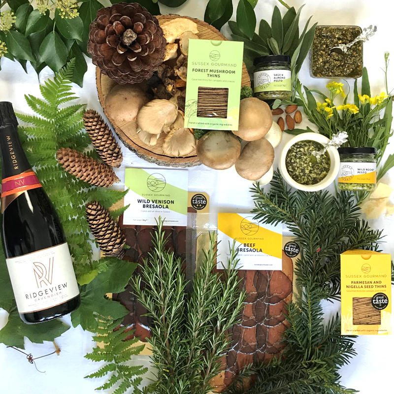 Forest and Field Hamper with fizz